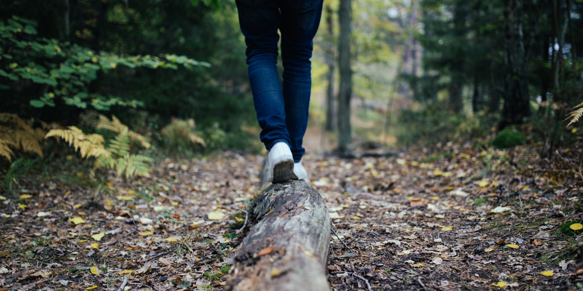Girl walking on a log in the woods