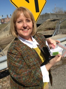 photo of PRA staff person holding Geocache - author provided image