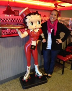 Abby posing with Betty Boop statue. - author provided image