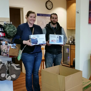 Raquel and T drop off our VMC donations - photo provided by raquel
