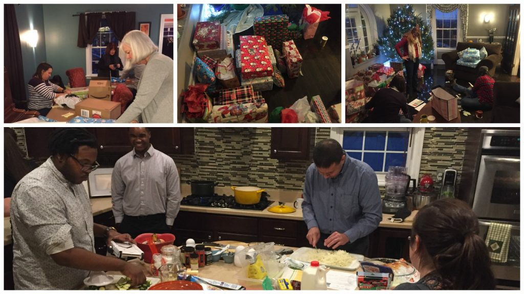 Collage of wrapping and cooking party