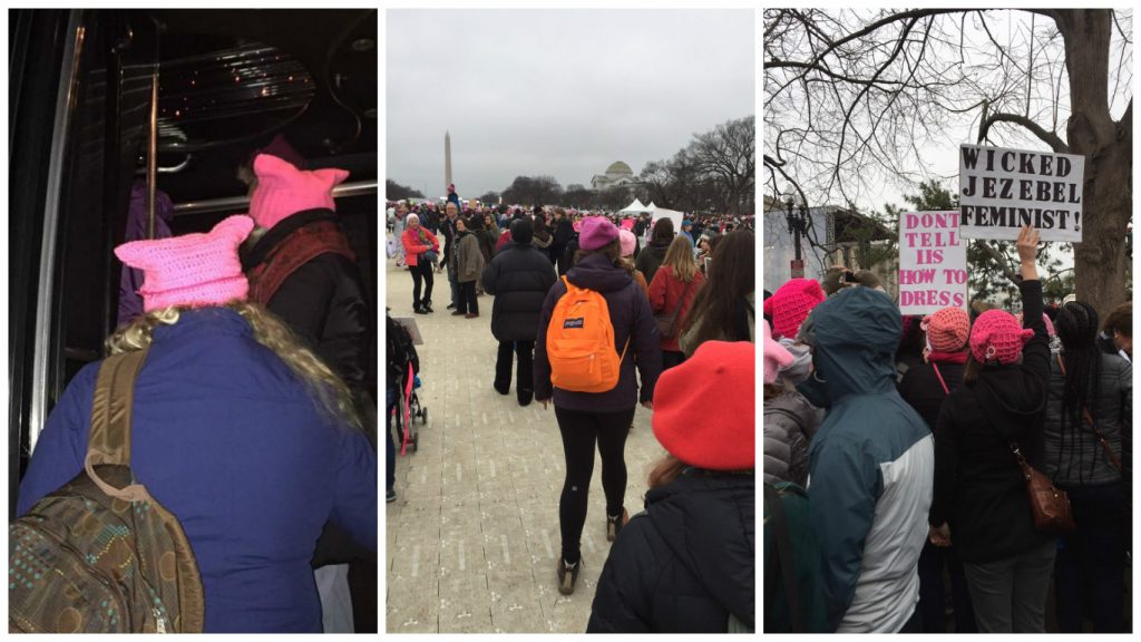 Collage of scenes from the Women's March
