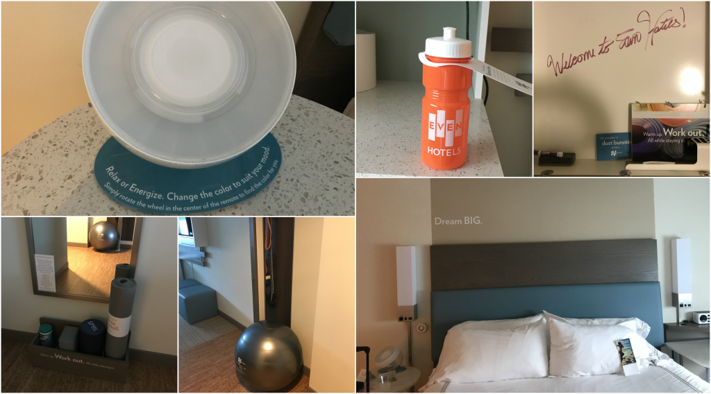 Wellness Amenities in the Even Hotel (yoga mat, water bottle, mood lighting, exercise ball)