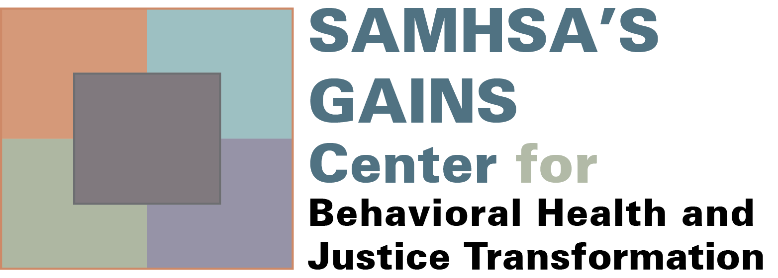 "SAMHSA""s GAINS Center for Behavioral Health and Justice Transformation logo"