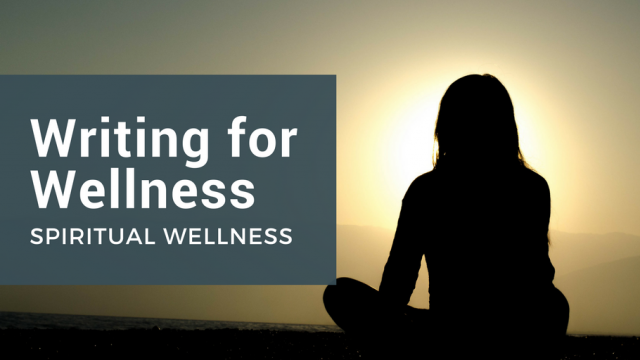 Writing for Wellness: Spiritual Wellness. Image displays Person sitting in seated meditation.