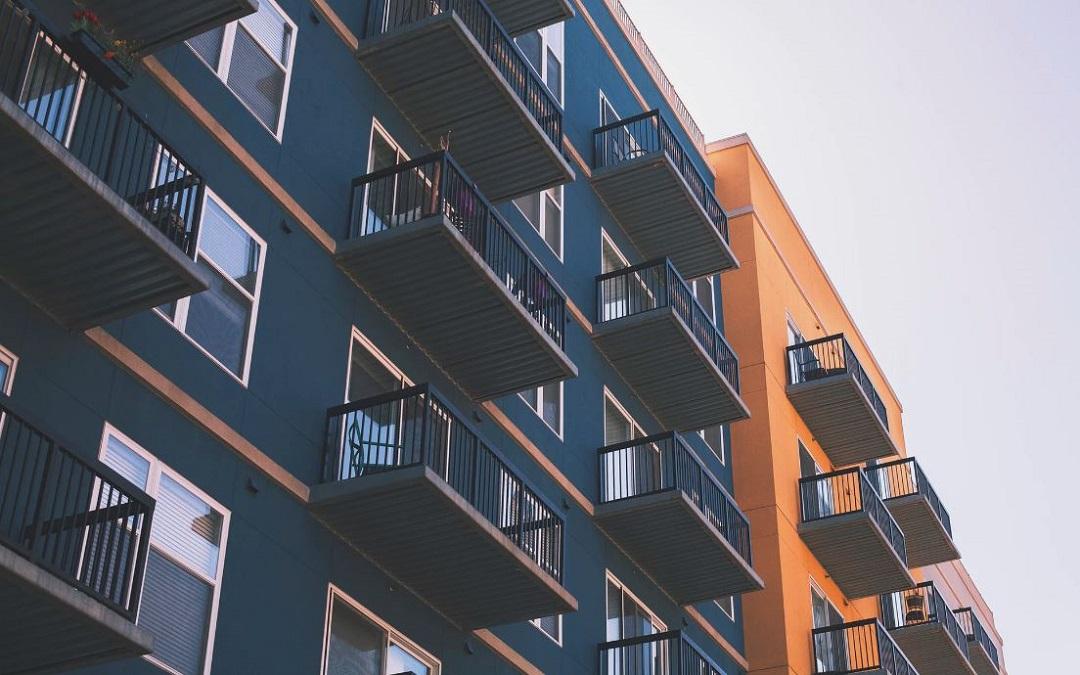 Blue and orange apartments