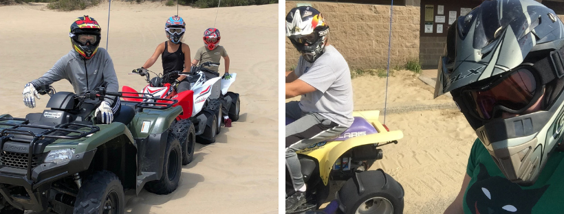 Collage of groups of people four wheeling on sand dunes
