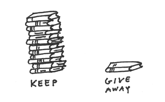 Keep pile and give away pile of books
