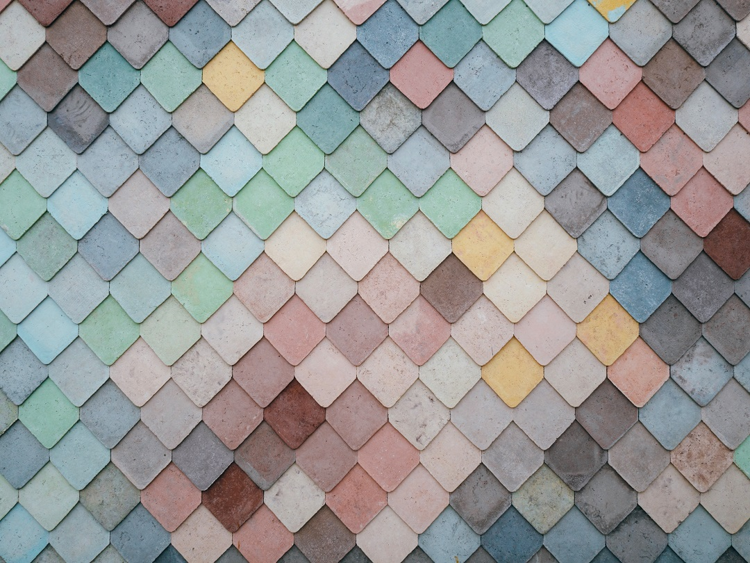 Multicolored tiles arranged in a cascading pattern