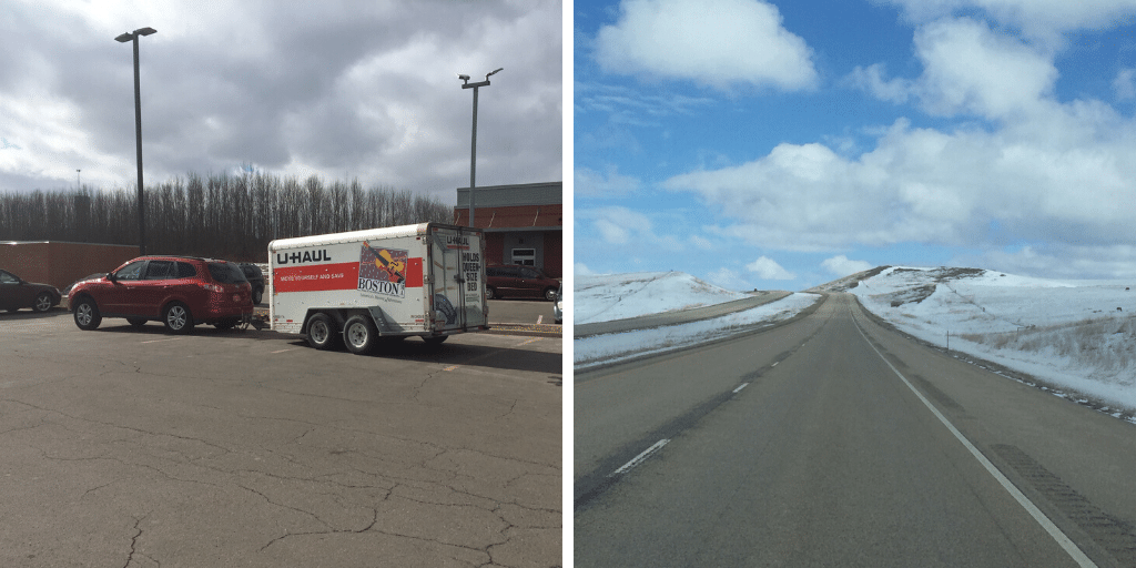 U-Haul and snow-covered roads
