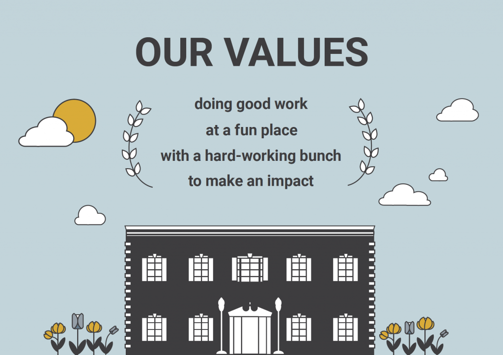 Our Values: Doing good work at a fun place with a hard-working bunch to make a difference
