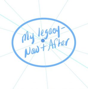"Circle with spokes coming out of it. In the middle of the circle the phrase ""my legacy-now + after"" is written"