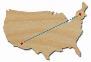 Map - NY to AZ with Hearts in Each State