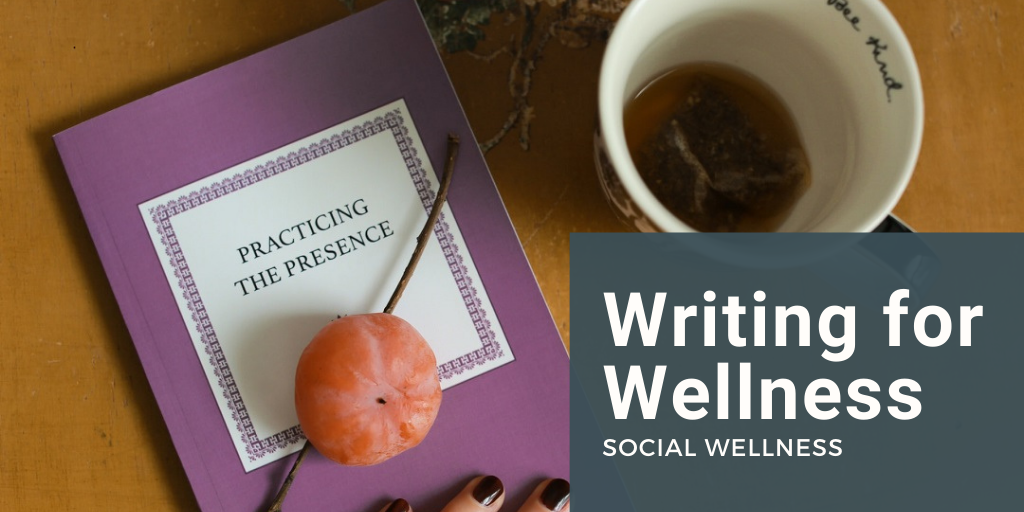 "Person's hand on a book with the title ""Practicing the Presence"" Book has a piece of fruit on top and is next to a coffee cup. Banner that says Writing for Wellness: Social Wellness overlays image"