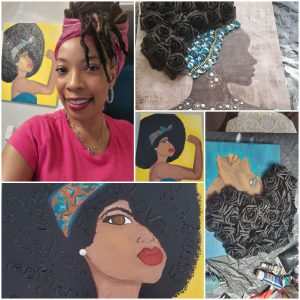 Dazara with her paintings, highlighting Black women wearing natural hairstyles
