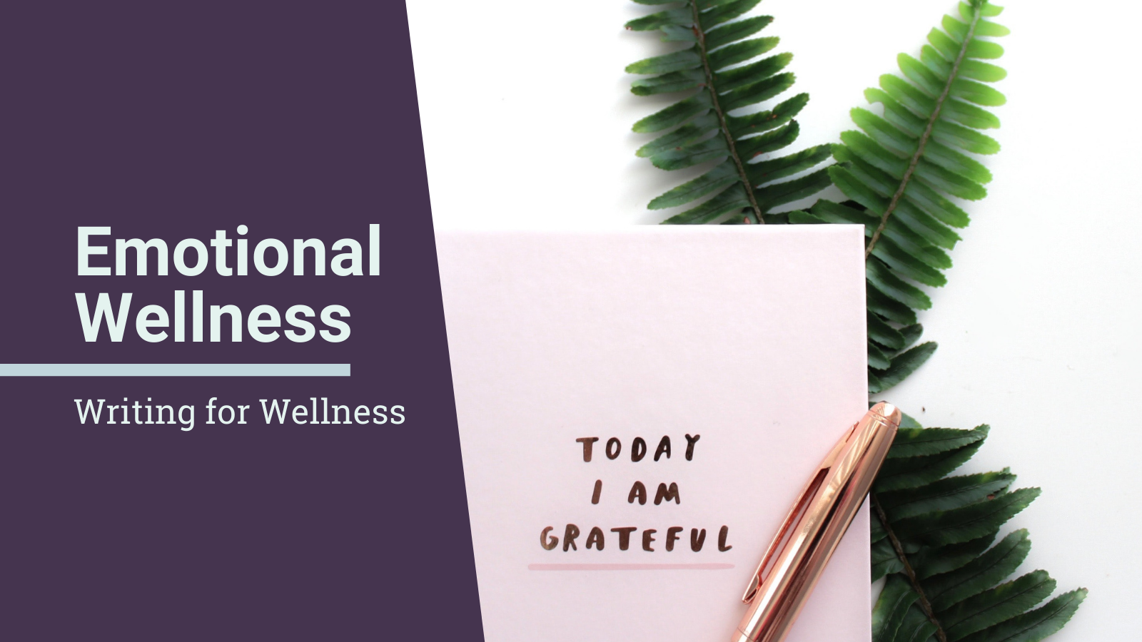 Writing for Wellness: Emotional Wellness - text overlaid on a gratitude journal with a pen and leaves