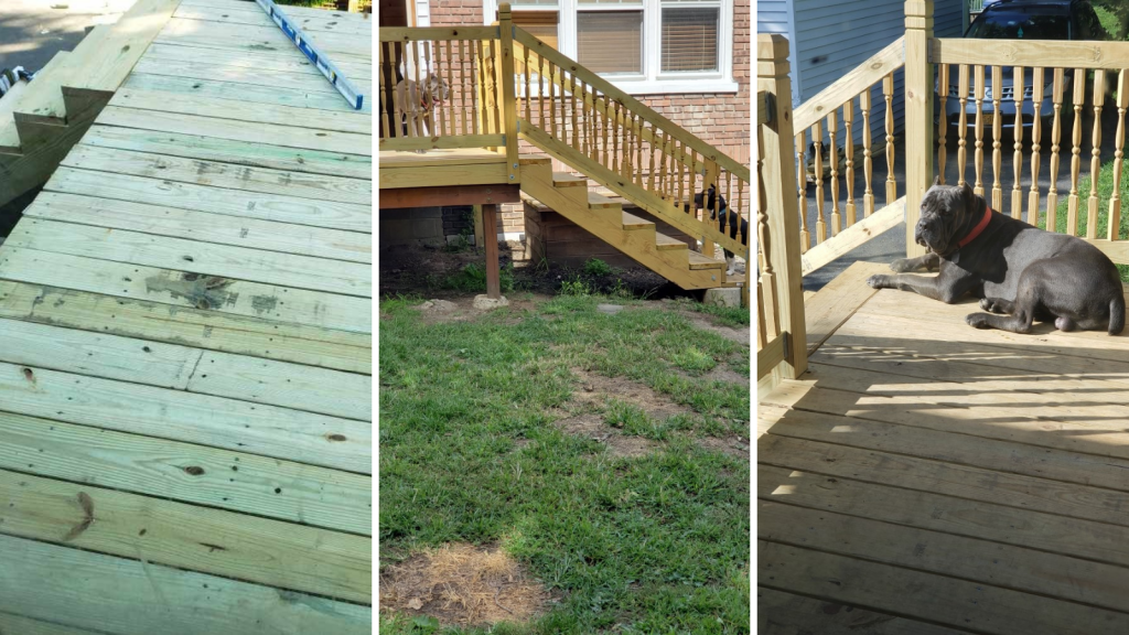Collage of a deck in different states of development