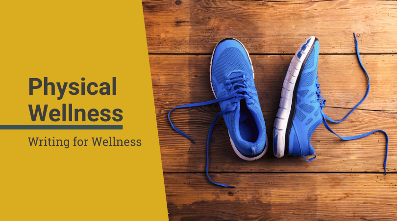 Writing for wellness banner and image of running sneakers
