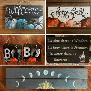 "Collage of Emily's hand-painted signs, which say ""Welcome,"" ""Happy Fall,"" and similar decorative messages"