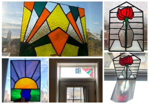 Collage of Julie's colorful stained glass pieces