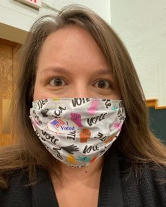 Abby made VOTE masks for herself and her fellow polling inspectors!